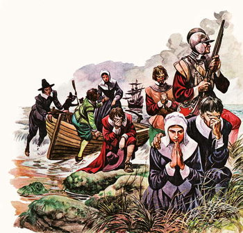 The Pilgrim Fathers land in America Taidejuliste
