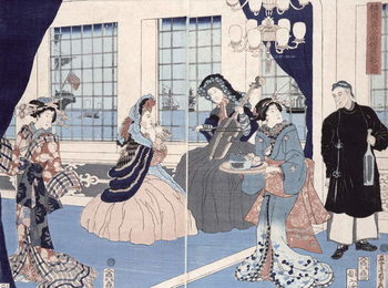 The salon of a house of foreign merchants at Yokohama, 1861 Taidejuliste