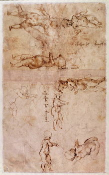 W.4v Page of sketches of babies or cherubs Taidejuliste
