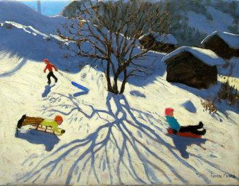 Winter hillside, Morzine, France Taidejuliste