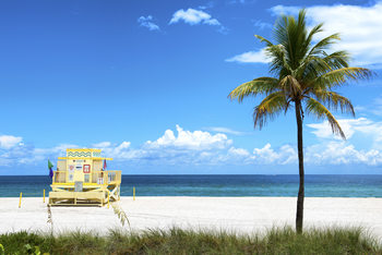 Eksklusiiviset taidevalokuvat Yellow Life Guard Station - Miami