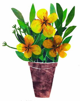 yellow plant pot Taidejuliste