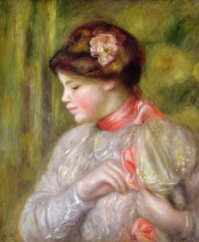 Young woman adjusting her blouse, 1900 Taidejuliste