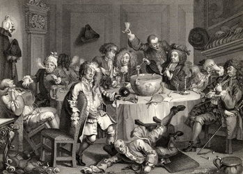 Fine Art Print  A Midnight Modern Conversation, from 'The Works of William Hogarth', published 1833