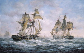 Fine Art Print Action Between U.S. Sloop-of-War Wasp and H.M. Brig-of-War Frolic, 1812