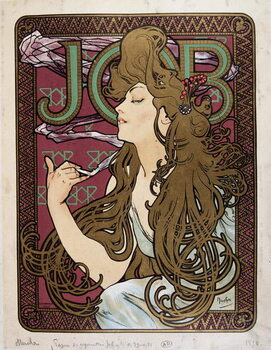 "Fine Art Print Advertising poster for ""Job Cigarette Paper"" by Mucha, 1898."