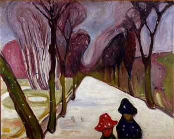 Fine Art Print Allee in a whirlwind of snow