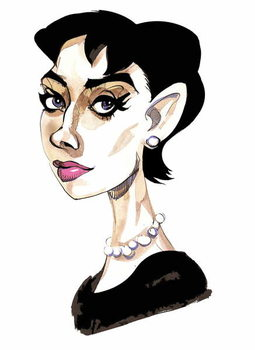 Fine Art Print Audrey Hepburn - colour caricature of Belgian-born actress 1929-93