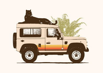 Fine Art Print Black Panther on Car