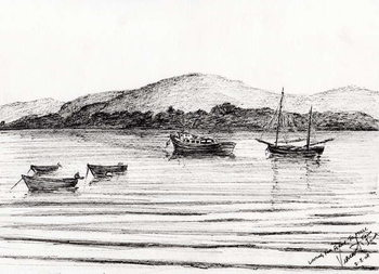 Fine Art Print Boats off Iona, 2007,