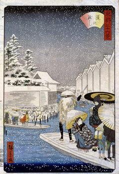 Fine Art Print Boats under the snow, Japan - Hiroshige print, 19th century