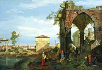 Fine Art Print Capriccio with Motifs from Padua, c.1756 (oil on canvas)