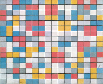Fine Art Print Checker board composition with light colours, 1919, by Piet Mondrian , oil on canvas. Netherlands, 20th century.