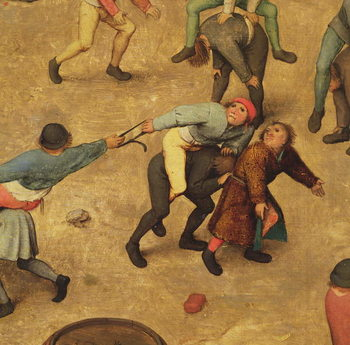 Fine Art Print  Children's Games (Kinderspiele): detail of children on piggy-back, 1560 (oil on panel)