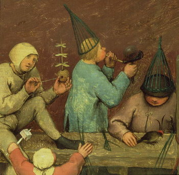 Fine Art Print Children's Games (Kinderspiele): detail of left-hand section showing children making toys and blowing bubbles, 1560 (oil on panel)
