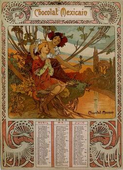 Fine Art Print Chocolate Masson calendar illustrated by Mucha . a Czech Art Nouveau painter
