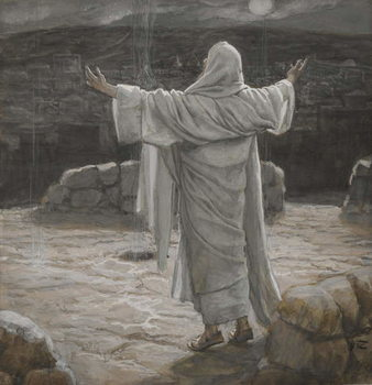 Fine Art Print Christ Retreats to the Mountain at Night, illustration from 'The Life of Our Lord Jesus Christ', 1886-94