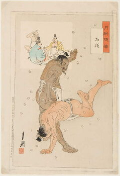 Fine Art Print Combat de lutteurs de sumo. Estampe de Ogata Gekko