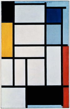 Fine Art Print Composition with red, black, yellow, blue and grey, 1921, by Piet Mondrian , oil on canvas. Netherlands, 20th century.