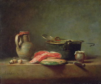 Fine Art Print Copper Cauldron with a Pitcher and a Slice of Salmon