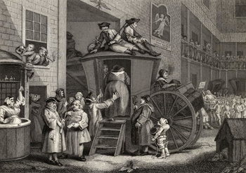 Fine Art Print Country Inn Yard, engraved by Timothy Engleheart (1803-79) from 'The Works of Hogarth', published 1833