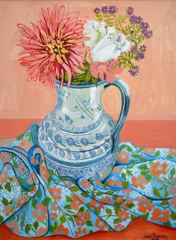Fine Art Print Dahlias, Roses and Michaelmas Daisies,2000,