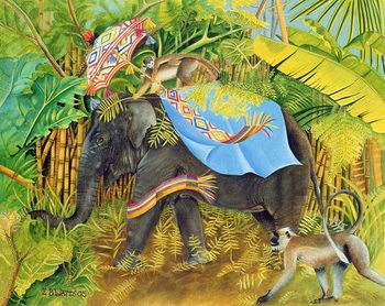 Fine Art Print Elephant with Monkeys and Parasol, 2005