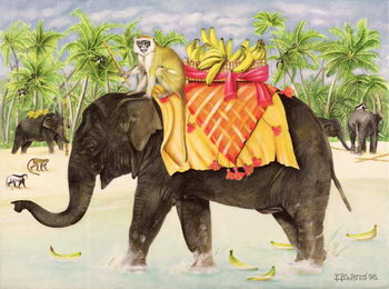 Fine Art Print Elephants with Bananas, 1998