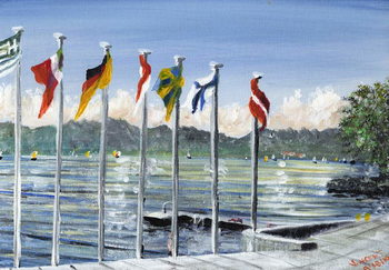 Fine Art Print Flags on Lac Leman, 2010,