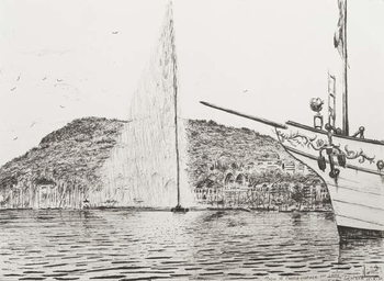 Fine Art Print  Geneva fountain and bow of pleasure cruiser, 2011,
