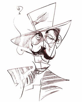 Fine Art Print Giacomo Puccini, Italian opera composer , sepia line caricature, 2006 by Neale Osborne