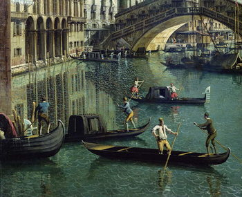 Fine Art Print  Gondoliers near the Rialto Bridge, Venice (oil on canvas)