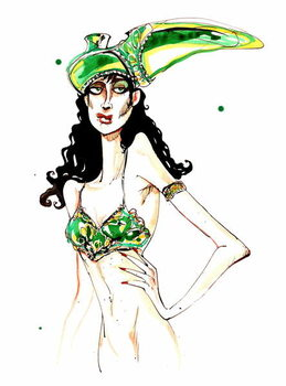 Fine Art Print  Green art deco shoe hat: from a series inspired by Elsa Schiaparelli's shoe-shaped hat