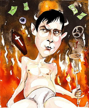 Fine Art Print Joe Orton, English author and playwright; caricature with reference to his plays 'Entertaining Mr Sloane' (of 1964) and 'Loot'