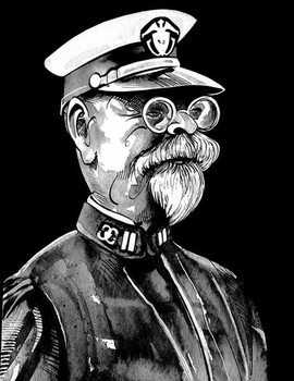 Fine Art Print John Philip Sousa, American composer , grey tone watercolour caricature, 1996 by Neale Osborne