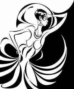 Fine Art Print Josephine Baker, American dancer and singer , b/w caricature, in profile, 2006 by Neale Osborne