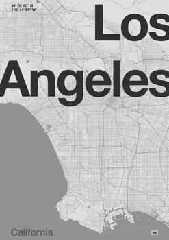 Fine Art Print Los Angeles Minimal Map