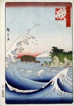 Fine Art Print Mount Fuji behind the restless sea