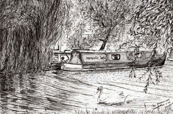 Fine Art Print Narrow boats Cambridge, 2005,