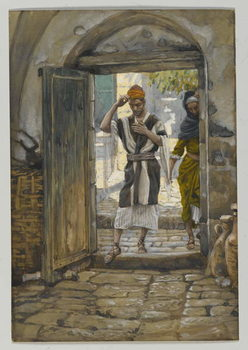 Fine Art Print  On Entering the House, Salute It, illustration from 'The Life of Our Lord Jesus Christ'