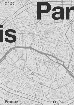 Fine Art Print Paris Minimal Map