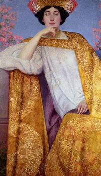 Fine Art Print Portrait of a Woman in a Golden Dress
