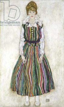 Fine Art Print Portrait of Edith Schiele, the artist's wife, 1915