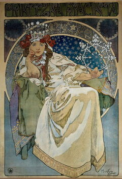 "Fine Art Print Poster by Alphonse Mucha (1860-1939) for the creation of the Ballet ""Princess Hyacinthe"""" by Oskar Nedbal  at the National Theatre of Prague and representing actress Andula Sedlackova"