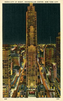 Fine Art Print Radio City at night, Rockefeller Center, New York City, USA
