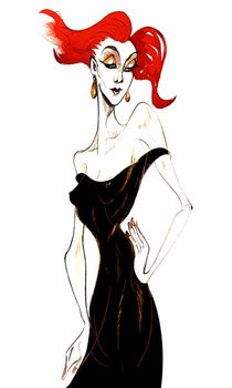 Fine Art Print Red-haired model in a black dress