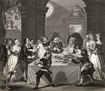 Fine Art Print Sancho at the Feast Starved by his Physician, from 'The Works of Hogarth', published 1833