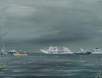 Fine Art Print Ships and boats at Cannes, 2014,