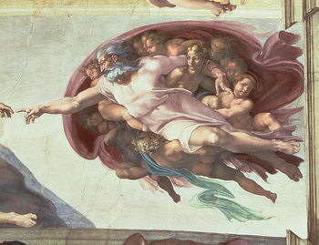 Fine Art Print Sistine Chapel Ceiling: The Creation of Adam, detail of God the Father, 1508-12 (fresco)