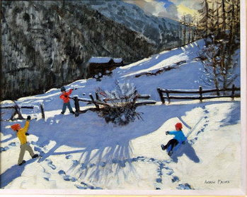 Fine Art Print Snowballers, Zermatt
